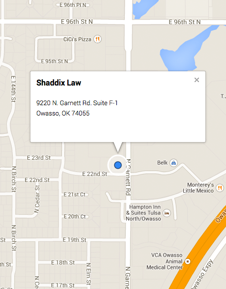 Google Maps directions to Shaddix Law